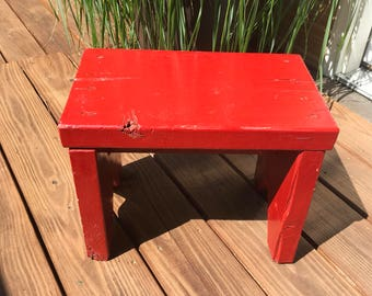 Vintage Red Wood Stool , Wooden Step Stool , Chunky , Farmhouse , Rustic , Country , Primitive Decor ,