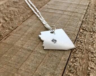 Arizona necklace- Southwest necklace-Arizona jewelry-handstamped necklace-Christmas gift-gift
