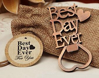 Vintage Bottle opener wedding favors - copper Best Day Ever Opener - Best Day Ever Vintage copper bottle opener favor- 4028