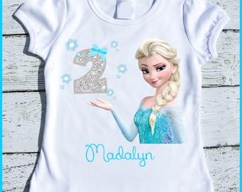 Custom Personalized Elsa Frozen Birthday tee shirt