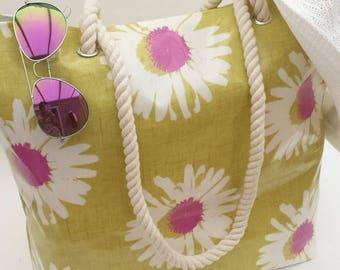 Beach bag/Tote oilcloth, Beach bag, Oilcloth beach bag, Oilcloth beach tote, Beach tote, Oilcloth bag, Oilcloth tote, Oilcloth, Daisy bag