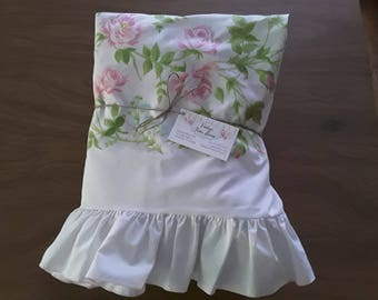 Vintage Twin Sheet Set with Ruffles and Roses