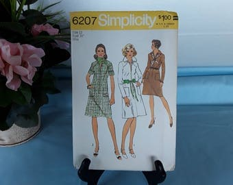 Vintage 1970s Simplicity Misses size 12 Dress Pattern 6207 New Uncut