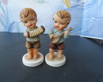Vintage Set of 2 Hand-Painted Bisque Porcelain Mikoniko Import Hummel-Type Boy Figurines    Playing Accordion  and Mandolin   1595