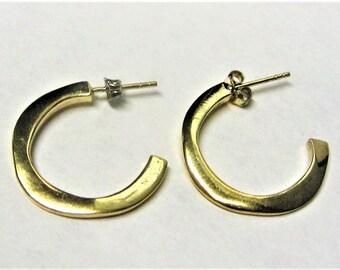 Vintage 925 Gold Vermeil Hoop Earrings 1980s Pierced Hoop Earrings