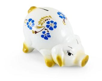 Piggybank Vintage piggy bank money box savings childs money box pottery vintage pottery pig Floral pottery pig home decor home and living