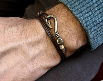Bracelets leather man, bracelets, mens bracelet, nautical jewelry, hooks, hook, must have, Mexican jewelry, Valantines Day