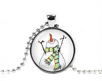 Snowman Necklace Snowman Frosty Pendant Jack Frost Jewelry Christmas Present