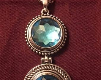 Trendy Silver Interchangeable Snap Necklace with Drop Down 18mm Snaps - Sparkling Blue