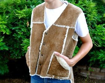 Vintage Men's Shearling Vest Western Style
