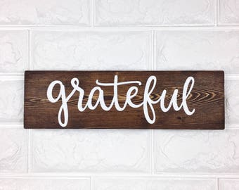 Grateful | Wood Sign | Handlettered | Handmade
