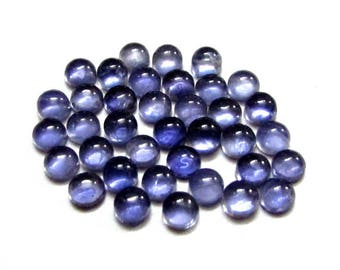 Deal 36 pcs 3mm Blue IOLITE Round Cabochon Nice Quality Gemstone, Iolite Cabochon Round Natural Deep Blue Colour, Round Cabochon Iolite Gems