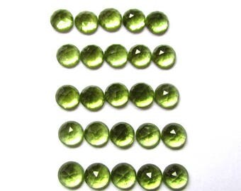 25pcs Lot 4mm Rose cut PERIDOT Round Rose Cut Cabochon gemstone AAA++ Quality 100% Natural 4mm peridot rose faceted cabochon calibrated gems