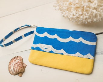 Small Katrina Pouch, Blue Waves and Yellow