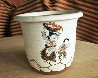 Rustic Hand Painted Ceramic Stoneware Asian Planter Pot with Drawn Animated Family