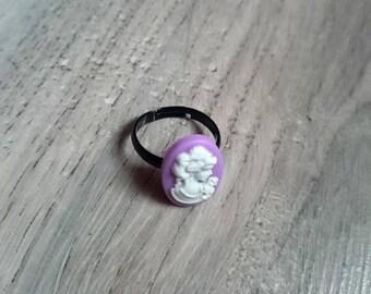 """Ring adjustable original """"Cameo"""", purple, cabochon, retro, vintage, Victorian"""