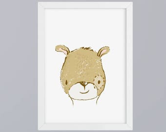 Bear gezeichnet-art print without frame