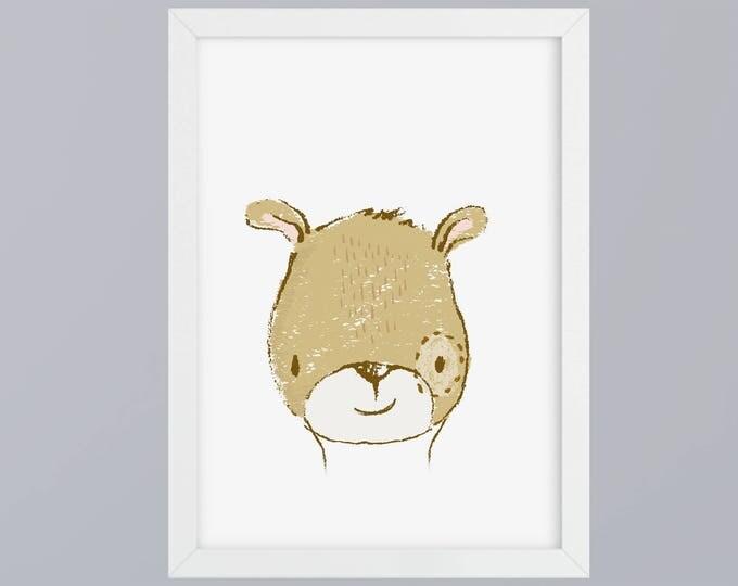Bear gezeichnet-art print without frame