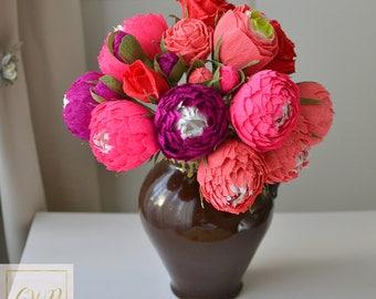 Home Decor Fuchsia Pink Flowers Pink Fuchsia Peonies Paper Wedding Bouquet Bridal Bouquet Wedding  Roses Bouquet Wedding Decor Flowers Decor