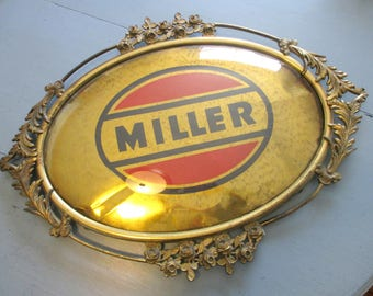 Vintage Convex Glass Picture Frame, Bubble Glass, Large Gold Metal Shadowbox, Metal Sign, Upcycle, Collage, Multimedia, Antique, 1930s