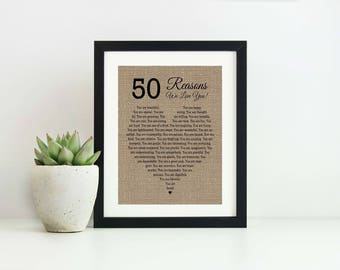 50 Reasons Why I Love you- 50th Birthday Gift- 30th Birthday Gift for Her- 50 Reasons We Love You Anniversary Gift for Husband Wife