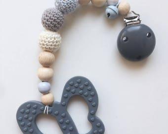 Biting chain Butterfly gray crochet bead