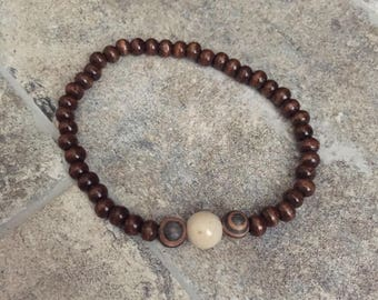 Dark Brown Wooden Beaded Bracelet on Stretch Cord with Marbled Brown Pendant / Free shipping
