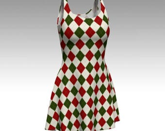 Christmas Dress, Flare Dress, Skater Dress, Bodycon Dress, Fitted Dress, Checkered Dress, Red and White Dress, Xmas Dress, Diamond Pattern