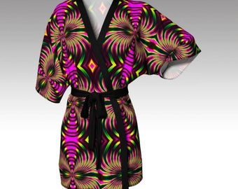 Psychedelic Kimono, Psychedelic Robe, Abstract Robe, Abstract Kimono, Dressing Gown, Beach Cover, Bridesmaid Robe, Loungewear, Swim Coverup