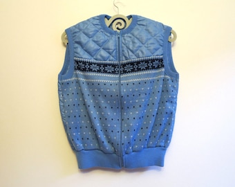 Light Blue Vest Knitted Womens Vest Blue Quilted Vest Padded Vest Light Blue Waistcoat with Zipper Autumn Outfit Spring Outfit Medium Size
