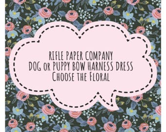 RIFLE PAPER CO. Floral & Bow Dog or Puppy Harness Dress