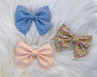 Floral & Dot Sailor Bows  | Pigtail Bows | Bow Sets | Sailor Bows | Alligator Clips | Hair Clips | Bows | Toddler Girl | Floral Bows |
