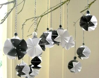 Christmas tree pendants. black and white