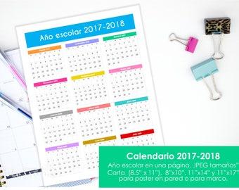 Calendario 2017-2018 para imprimir. Año escolar. Incluye varios tamaños. Quick reference calendar, planner insert Spanish. Instant download.