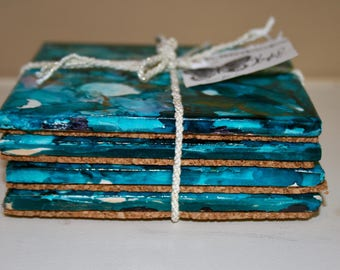 Blue coasters (hand painted)