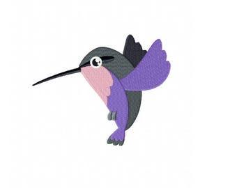 Flying hummingbird bird embroidery design