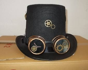 Gothic Steampunk Hut. Hat. Hoherer Zylinder. Super Steampunk Goggles. Size 59