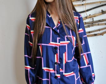 Abstract print womens blouse 1990s 1980s vintage casual long sleeve shirt blue red pink