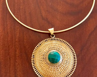 Choker gold necklace, Genuine malachite necklace,brass necklace, pendant gold necklace, gift for her, gift ideas, brass jewellery,boho gyps