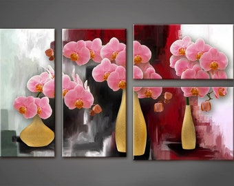 Extra Large Canvas Art, Interior Art, Living Room Decor, Flower Art, Wall decor, 4 Panel Canvas, Print on Canvas, Orchids in a Vase
