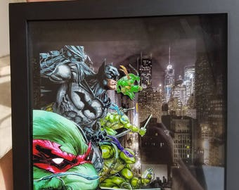 Tmnt and batman 3d frame shadow box wall art