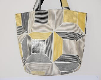 Tote bag / Beach - lined - cotton canvas - graphic bag - mustard, grey, beige and black