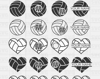 Volleyball SVG Cut Files Bundle | Monogram Frames SVG | Volleyball Graphics | Silhouette Files