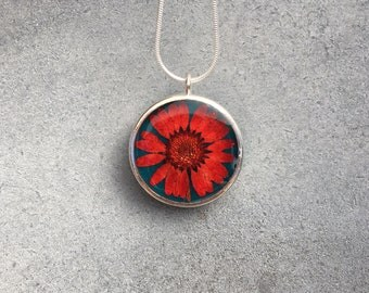 Copper Red Chrysanthemum against Turquoise in Silver Open Back Bezel Resin Necklace Pendant, Pressed Flowers, Resin Jewelry