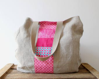 Pink tote bag women linen and printed fabric