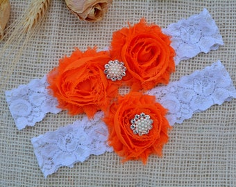 Orange Garter Set, Orange Garter Belt, Bridal Clothing, Lace Garter, Garter For Women, Romantic Garter, Lace Garter Set, Orange Keep Garter