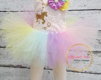 Unicorn Tutu Set, Unicorn headband, Unicorn Romper Birthday tutu set, Unicorn Romper, Rainbow unicorn set, Unicorn Girls Costume