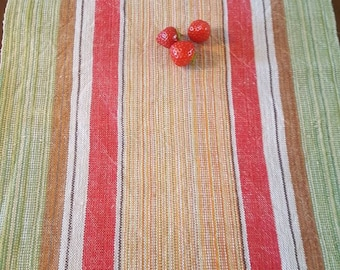 Swedish Handwoven Long  Striped Tablerunner Linnen and Cotton