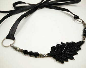 BLACK LEAF -  Venice Lace Black Leaf with Black and Matte Silver Faceted Glass Beads Ribbon Tie Choker
