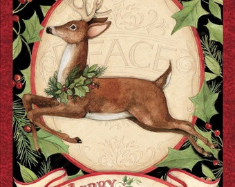 "Christmas Fabric, Deer Fabric: Merry Christmas Woodland Deer Panel 100% cotton fabric by the PANEL 36""x42"" (SC326)"